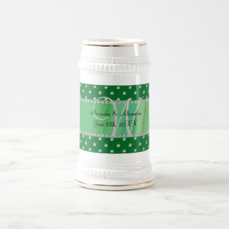Wedding monogram green diamonds coffee mugs