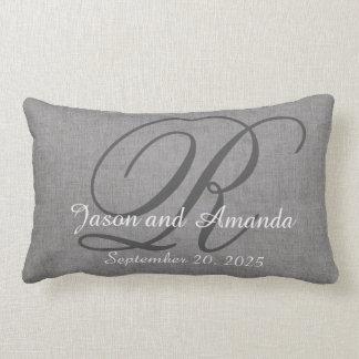 Wedding Monogram Grey Rustic Linen Look Lumbar Pillow