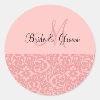 Wedding Monogram In Pink Classic Round Sticker