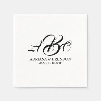 Wedding Monogram Initial Black White Paper Napkin