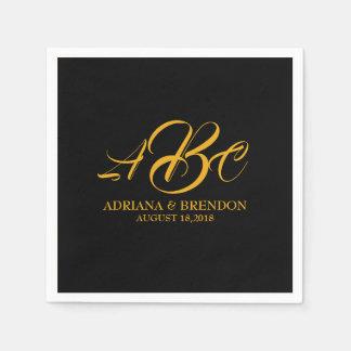 Wedding Monogram Initial Gold Black Napkin