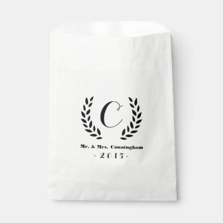 Wedding Monogram Laurel Favour Bag