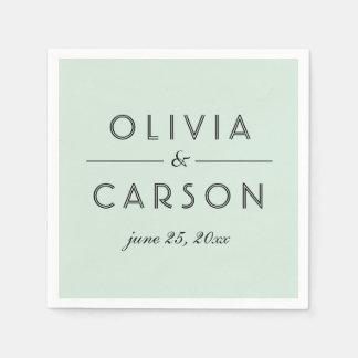 Wedding Monogram | Mint Green Disposable Napkins