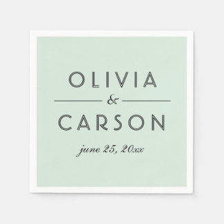 Wedding Monogram | Mint Green Paper Napkin