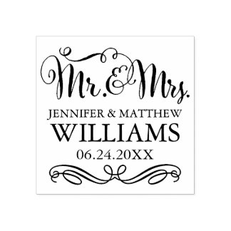 Wedding Monogram | Mr. & Mrs. Rubber Stamp