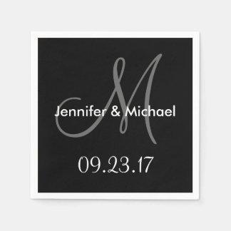 Wedding Monogram Names Date Black White Grey Paper Napkins
