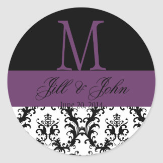 Wedding Monogram Names Date Damask Black Purple Round Sticker