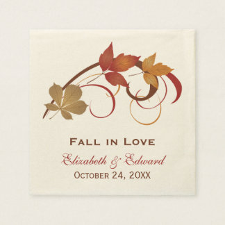 Wedding Monogram Napkins | Autumn Fall Leaves Disposable Napkin