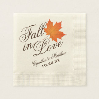 Wedding Monogram Napkins | Fall in Love Disposable Napkin