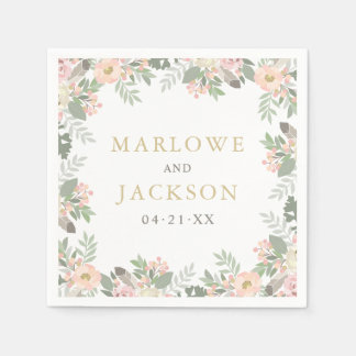 Wedding Monogram Napkins | Spring Boho Florals Disposable Napkin