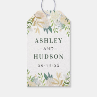 Wedding Monogram | Neutral Blooms Gift Tags
