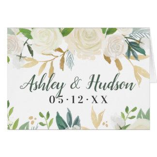 Wedding Monogram   Neutral Watercolor Blooms Card