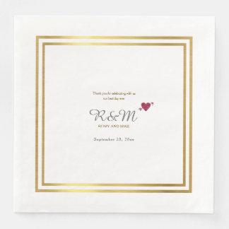 wedding monogram on white dinner disposable napkins