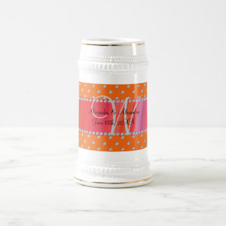 Wedding monogram orange diamonds mug