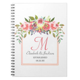 Wedding Monogram Peach Watercolor Floral Wreath Notebooks