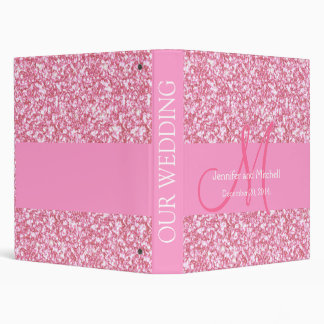 Wedding Monogram Pink Glitter Planner Printed 3 Ring Binder