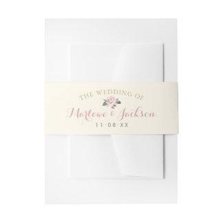Wedding Monogram | Pink Peony Invitation Belly Band