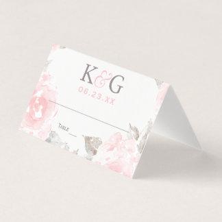 Wedding Monogram | Pink Watercolor Roses Place Card
