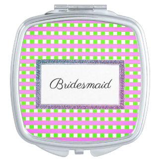 Wedding-Monogram-Plaid-Pink-Green-Favor's Compact Mirror