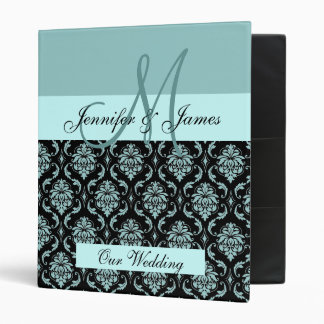 Wedding Monogram Planning Blue Damask Binder