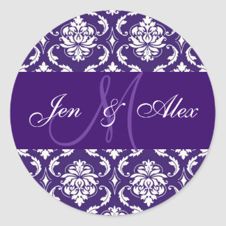 Wedding Monogram Purple Damask Sticker