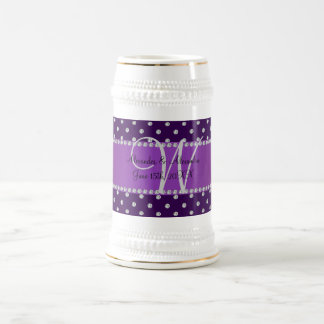 Wedding monogram purple diamonds mug