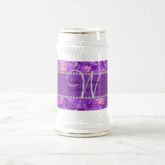 Wedding monogram purple roses coffee mugs