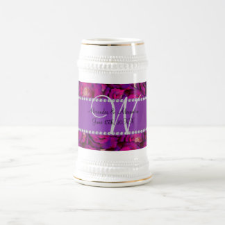 Wedding monogram purple roses mug