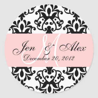 Wedding Monogram Save Date Damask Seal