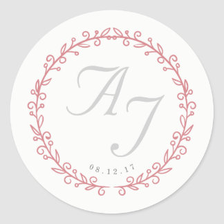 Wedding Monogram Sticker | Blush and Blooms
