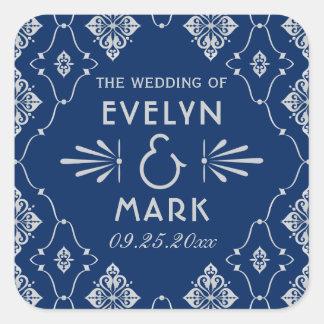 Wedding Monogram Stickers   Navy Art Deco