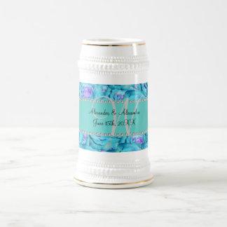 Wedding monogram turquoise roses mugs