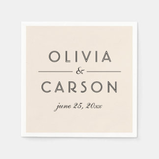 Wedding Monogram | Warm White Napkin