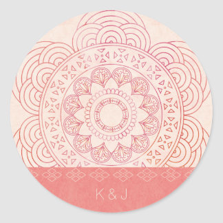 Wedding Monograms Boho Chic Mandala Design Classic Round Sticker