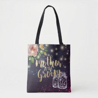 Wedding Mother of the Groom Floral Mason Jar Light Tote Bag