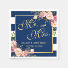 Wedding Mr. and Mrs. Floral Gold Navy Blue Stripes Paper Napkin