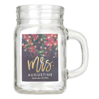 Wedding Mrs Bride Burgundy Red Floral String Light Mason Jar