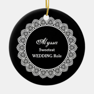 WEDDING Name and Sentiment Lace Black White OR10 Round Ceramic Ornament