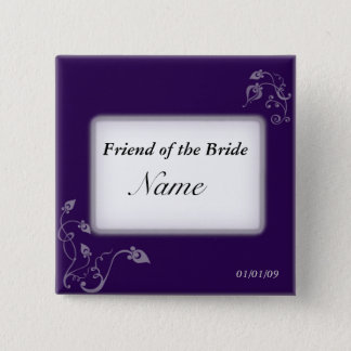 Wedding name tag - Puple vines 2 Inch Square Button