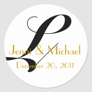 Wedding Names & Date Monogram L Sticker Gold