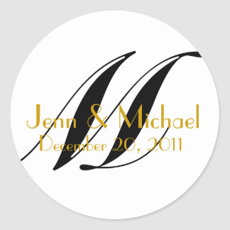 Wedding Names & Date Monogram Sticker Gold