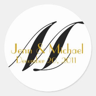 Wedding Names & Date Monogram Sticker Gold