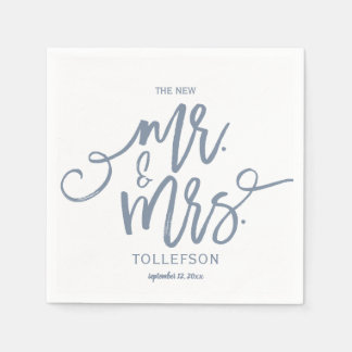 Wedding Napkins | Brush Script (Dusty Blue) Disposable Napkin