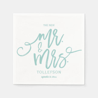 Wedding Napkins | Brush Script (Light Turquoise) Paper Napkin