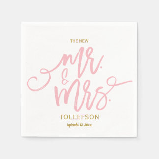 Wedding Napkins | Brush Script (Pink & Gold) Disposable Napkin