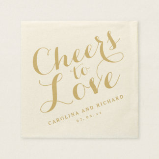 Wedding Napkins | Gold Cheers to Love Paper Napkins