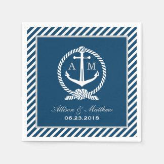 Wedding Napkins | Nautical Monogram Design Paper Napkins