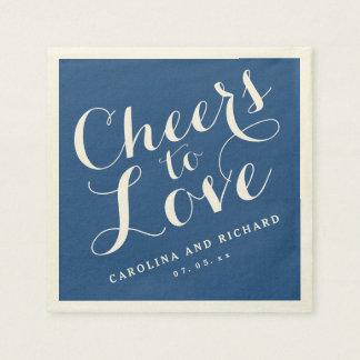Wedding Napkins | Navy Blue Cheers to Love Paper Napkin