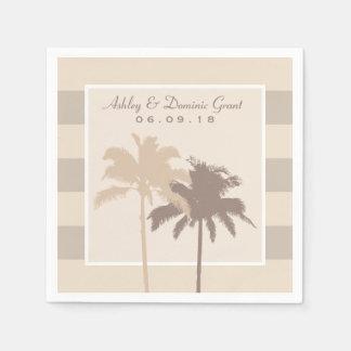 Wedding Napkins   Palm Trees Monogram in Beige Disposable Napkin