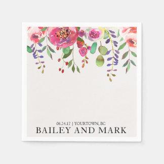 Wedding Napkins Watercolor Floral Bouquet Blush Paper Napkins